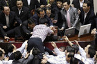South Korean lawmakers fighting (Reuters)