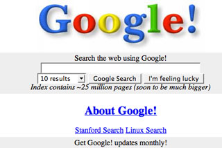 The Google homepage, in its infancy
