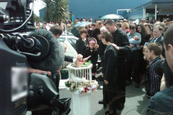 The hearse carrying the tiny casket of Aisling Sym...