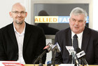 Allied Farmers Managing Director Mr Rob Alloway, left, and Chairman Mr John Loughlin speaks at a press conference today