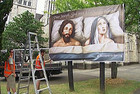 "The billboard shows Joseph looking down dejectedly and Mary looking sad, with the caption, ""Poor Joseph. God is a hard act to follow"" (NZPA)"