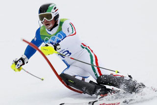 Italy's Giuliano Razzoli won the men's slalom (Reuters)