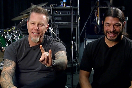 James Hetfield and Robert Trujillo backstage before their first Christchurch show