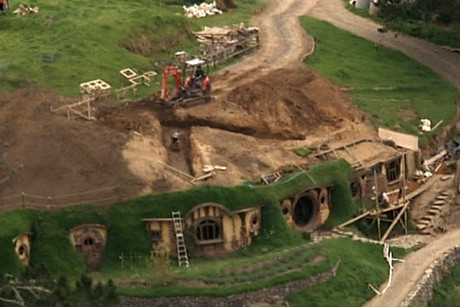 View of the set of The Hobbit from the air