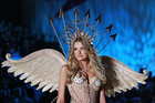 Model Lily Donaldson presents a creation during the Victoria's Secret Fashion Show at the Lexington Armory in New York (Reuters)