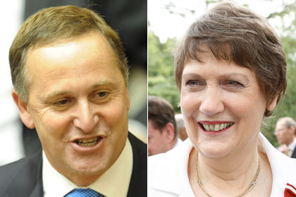 John Key and Helen Clark
