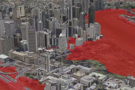 With a 7m flood large parts of Brisbane's CBD would be affected according to the model