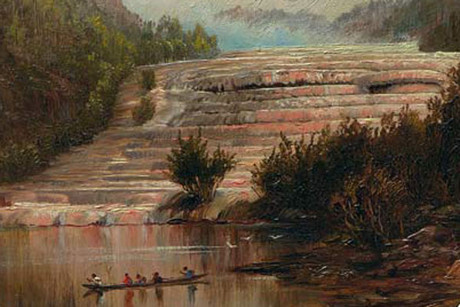 The pink (above) and white terraces were destroyed by the eruption of Mt Tarawera in 1886 (Photo: Te Ara Encyclopedia of NZ)