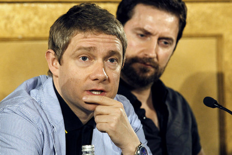 Martin Freeman at The Hobbit media conference in Wellington today (Reuters)