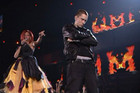 Eminem and Rihanna on-stage at the 2011 Grammys