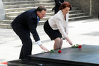 Julia Gillard and John Key visited the National War Memorial in Wellington today (NZPA)