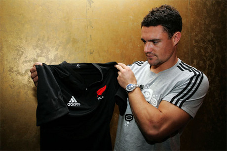 Dan Carter with a 'Red Fern' jersey mocked up by 3news.co.nz