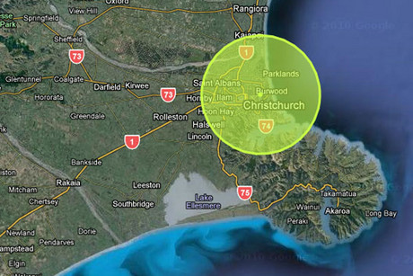 The quake as it appears on www.christchurchquakemap.co.nz