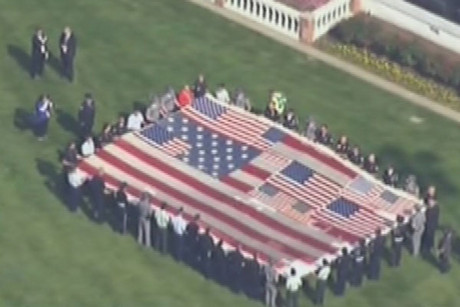 The special presentation of the National 911 Flag at he Kentucky Derby