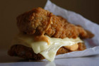 The Double Down uses chicken fillets to sandwich together two pieces of cheese and bacon