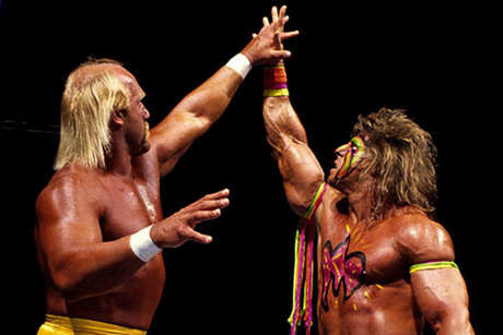 Hulk Hogan and Ultimate Warrior at WrestleMania VI in 1990