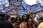People thank New York Governor Andrew Cuomo for the legalization of gay marriage (Reuters)