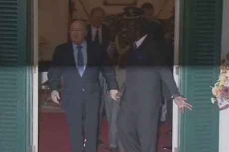 FIFA President 'Sepp' Blatter, left, was greeted at State House by Zimbabwe President Robert Mugabe