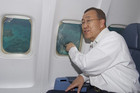 UN Secretary-General Ban Ki-moon flies over Gizo and Marovo Lagoon en route to Solomon Islands (Reuters)