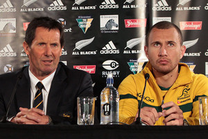 Pick the Kiwis... both Australia coach Robbie Deans, left, and first-five Quade Cooper were born in New Zealand. Some 38 players outside of the All Blacks squad will feature in this year's 2011 Rugby World Cup, playing for other nations (Photosport)