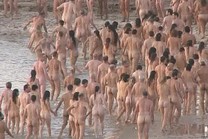 Participants in Spencer Tunick's nude photo shoot