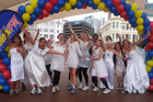 The brides-to-be at the start line of their waterfront course