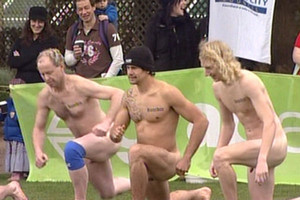 Lunging is a lot more risky at a naked rugby match