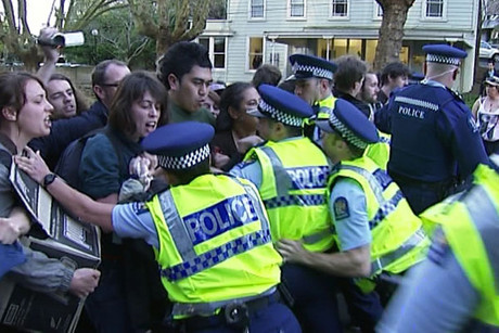 Students protest in Auckland yesterday
