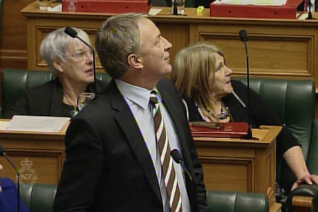 Phil Goff was talking to Parliament when the man tried to jump