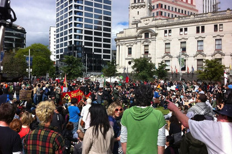 In Auckland, the movement gathers in Aotea Square