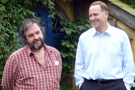 Sir Peter Jackson and John Key on the Hobbiton set