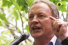 Labour leader Phil Goff speaking in Auckland today
