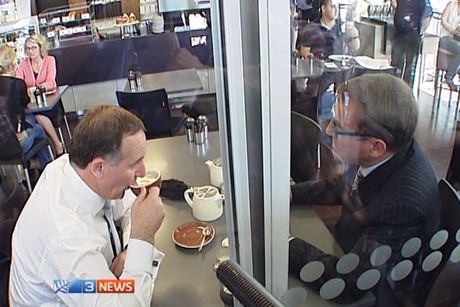 John Key and John Banks met for a symbolic cup of tea on Friday afternoon