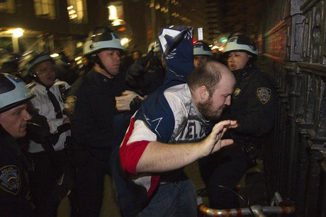 Police clear the Wall Street protest (Reuters)