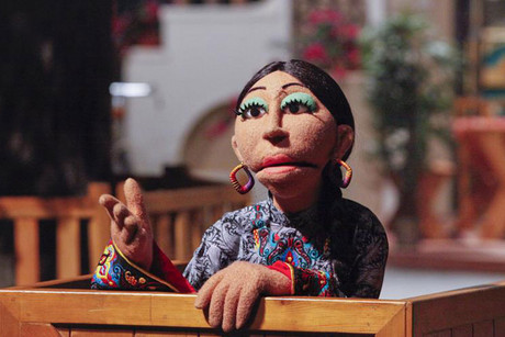 A locally developed puppet named Baji is seen performing at the launching ceremony of the Pakistani version of Sesame Street called Sim Sim Hamara at Rafi Peer Theatre Workshop in Lahore (Reuters)