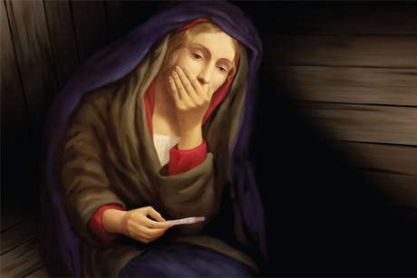 The latest St Matthews billboard shows Mary with a positive pregnancy test
