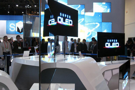 Super thin 55-inch OLED televisions are displayed at the Samsung Electronics booth during the 2012 International Consumer Electronics Show in Las Vegas (Reuters)