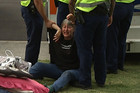 Occupy protestor Penny Bright is detained by police
