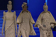 Three unusual designs are paraded in the Young Designer's show at China Fashion Week