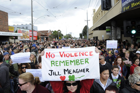 Thousands of people march along Sydney Road, Brunswick in memory of Jill Meagher (AAP)