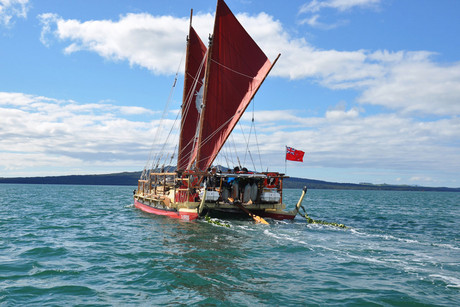 The Waka leaves Waitemata Harbour in Auckland on Friday August 17, 2012 (Photo: AAP)