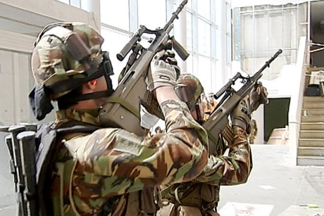 Soldiers training in a Christchurch CBD red zone building