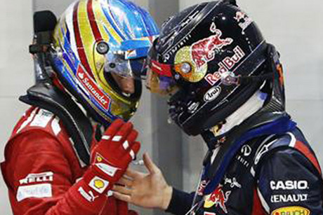 The big guns of defending champion Sebastian Vettel of Red Bull, right, and leader Fernando Alonso of Ferrari are set to duel it out (Reuters file)