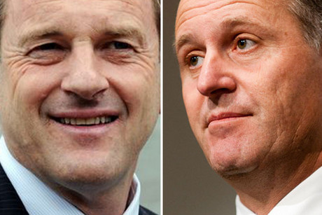 David Shearer (left) says John Key has contradicted himself