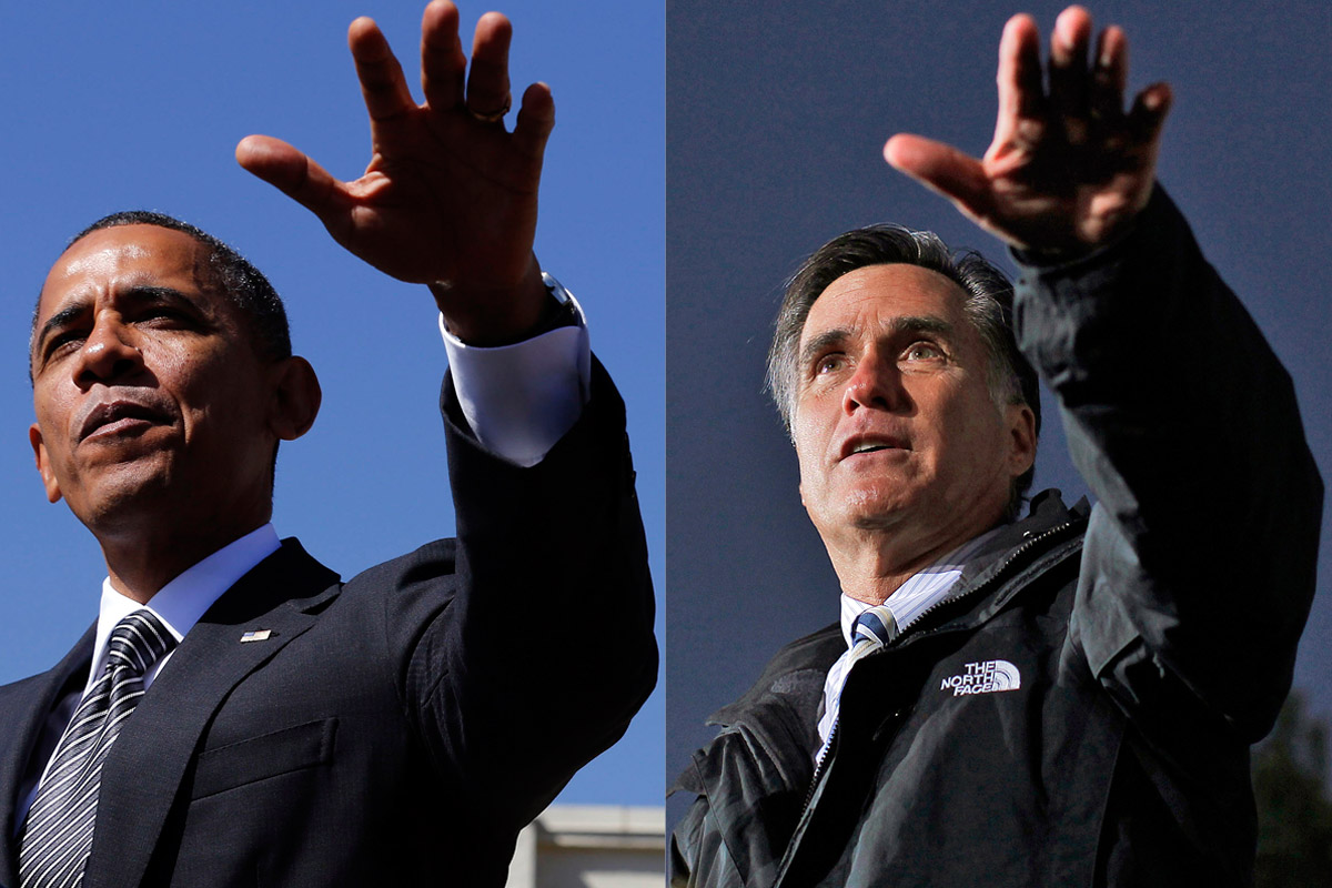 Barack Obama and Mitt Romney on the campaign trail (Reuters/Larry Downing/Shannon Stapleton)