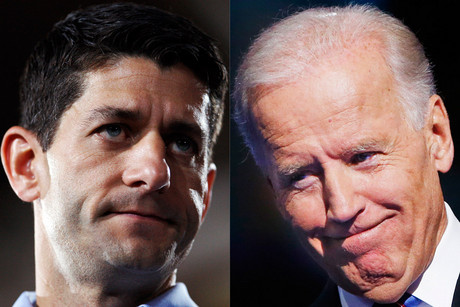 Republican Vice-Presidential candidate Paul Ryan and current US vice president Joe Biden (Reuters/Jessica Rinaldi/Eric Thayer)