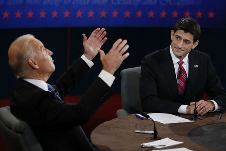 US Vice President Joe Biden (L) debates Republican vice presidential nominee Paul Ryan (R) during the US vice presidential debate in Danville, Kentucky (Reuters/Rick Wilking)