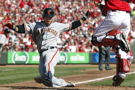 San Francisco Giants' Brandon Crawford scores on Cincinnati Reds catcher Ryan Hanigan (Reuters)