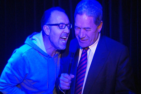 Peter Urlich (left) and Winston Peters at The Whiskey Bar