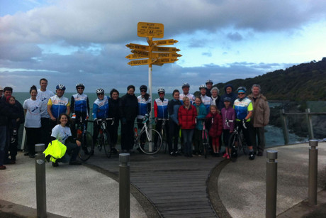 The 2012 riders left Bluff's Stirling Point, the southern-most point in New Zealand, this morning in good spirits